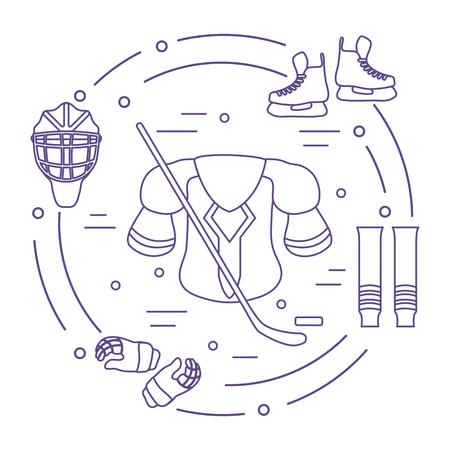 Hockey equipment. Winter sports elements. Illustration