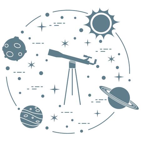 Science: télescope, soleil, lune, planètes, étoiles. Exploration de l'espace. Astronomie.
