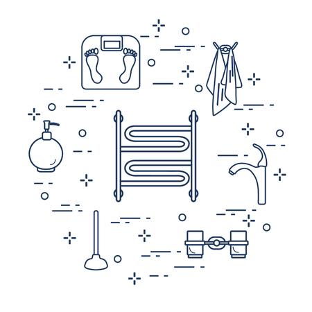 Bathroom elements. Design for poster or print.