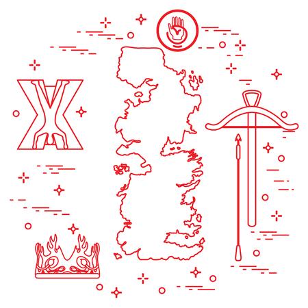 Symbols of the popular fantasy television series. Art and cinema theme. Ilustrace