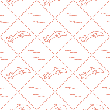 Seamless pattern with dolphins, splashes and waves. Design for banner and print.