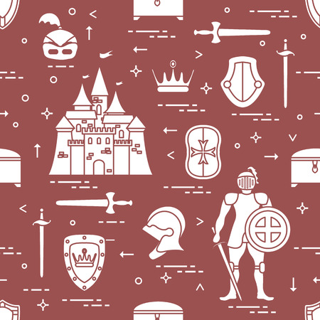 Pattern with knight, castle, shields, swords,  helmet, crown and treasure chest. Design for banner or print. Illustration