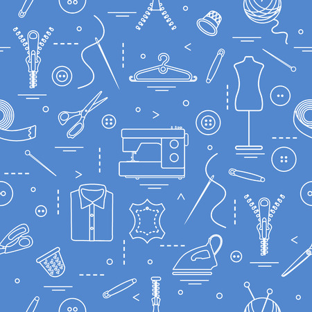 Seamless pattern with tools and accessories for sewing.