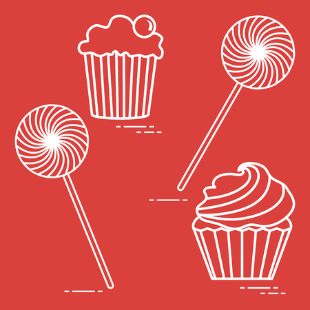 Lollipops and cakes. Design for banner and print. Ilustração