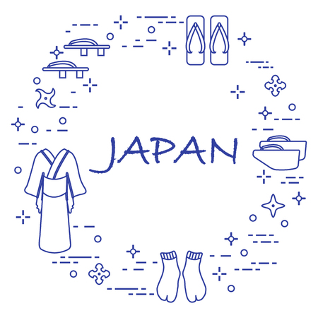 Traditional japanese clothing, shoes and shurikens. Japan traditional design elements.