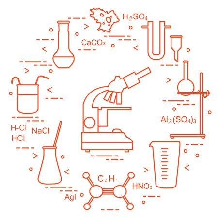 Chemistry scientific instruments. Design for banner, poster or print.
