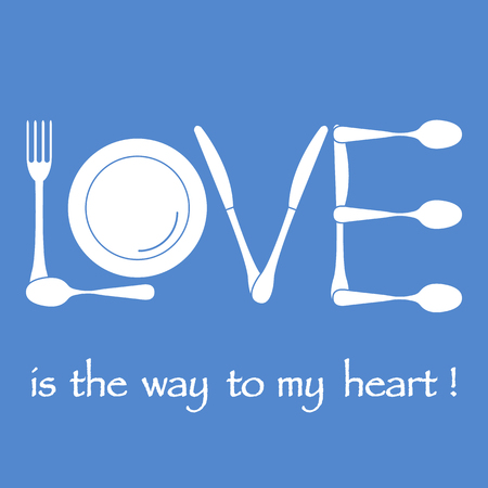 Inscription LOVE from cutlery. Design for banner, poster or print. Greeting card Valentine's Day. Stock Illustratie