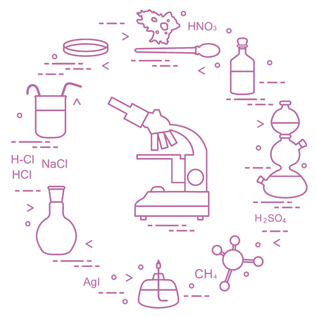 Chemistry scientific, education elements: microscope, Petri dish, dropper, flasks, camera Kippa, formulas, beaker, burner, amoeba. Design for banner, poster or print. Vectores