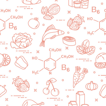 Seamless pattern with foods rich in vitamin B6.