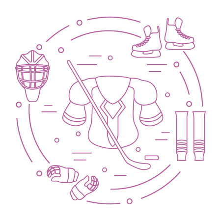 Hockey equipment. Winter sports elements. Illustration