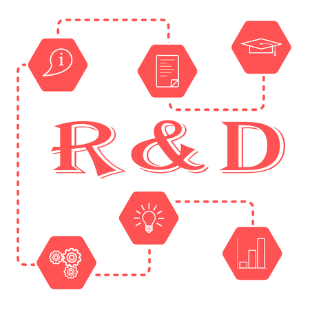 Research and development concept. Graduate cap, document, information icon, gears, idea in bulb shape, bar chart. Illustration