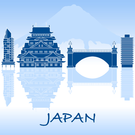 Japanese architecture. Building, suspension bridge and castle. Backdrop of mount Fuji. Travel and leisure. Illustration