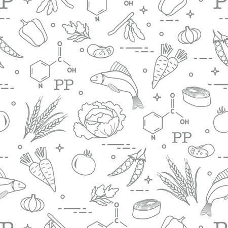 Seamless pattern with foods rich in vitamin. Beans, fish, tomato, soya beans, peas, garlic, wheat, carrots, spinach, cabbage and pepper.