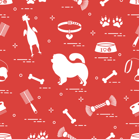 Pattern of silhouette chow-chow dog, bowl, bone, brush, comb, toys and other items to care for pet. Design for banner, poster or print. Vectores