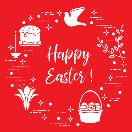 Easter symbols like Easter cake, willow branches, basket, eggs, lily, candle and dove.