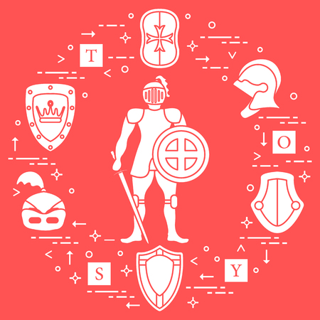 Knight, shields, swords, helmets and cubes. Design element for postcard, banner or print.