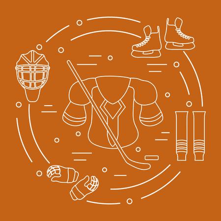 Hockey equipment like skates, gloves, helmet, shoulder pads, hockey stick, hockey socks and ice hockey puck.  Winter sports elements.