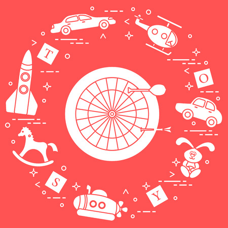 Kids toys: darts, helicopter, blocks, rabbit, bathyscaphe, rocking horse, rocket, cars. Design element for postcard, banner or print.