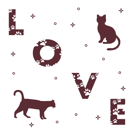 Word: Love. The message is decorated with traces of a cat.  Template for design, print.