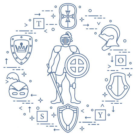 Medieval icons - Knight, shields, swords, helmets and cubes.