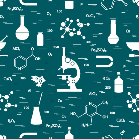 Seamless pattern with variety scientific, education elements: microscope, flasks, formula, pestle and other.
