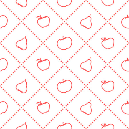 Apples and pears juicy fruit. Seamless pattern. Illustration