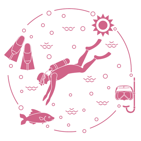Diving icons: Mask, snorkel, flippers, sun, fish, scuba diver. Sports and recreation theme.