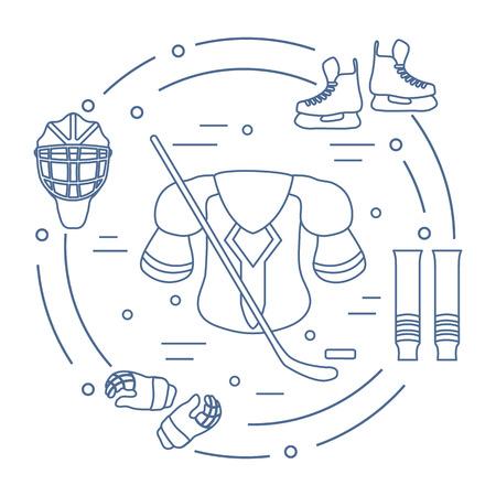 Hockey icons set: Skates, gloves, helmet, shoulder pads, hockey stick, hockey socks, ice hockey puck. Hockey equipment. Winter sports elements. Illustration