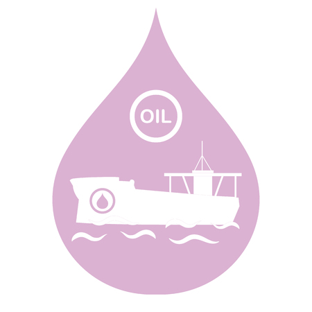 Drop inside with a tanker carrying oil. Production and transportation of oil. Illustration