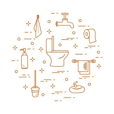 Bathroom icons vector illustration set