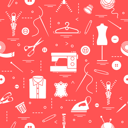 Seamless pattern with tools and accessories for sewing Vectores