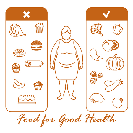 Fat woman with and useful and harmful food vector illustration