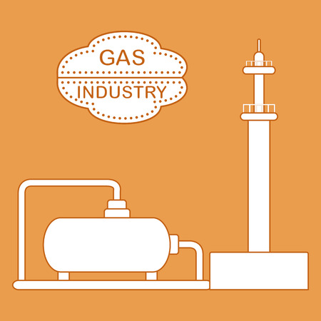 Gas processing plant, gas storage tank. Design for announcement, advertisement, banner or print.
