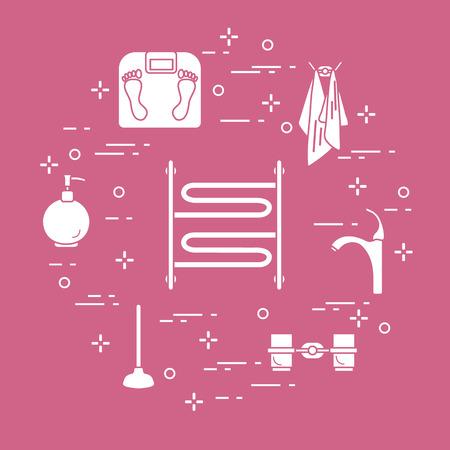 Bathroom elements: scales, towel warmer, faucet, plunger, glasses, soap dispenser, towels. Design for poster or print. Stock Illustratie