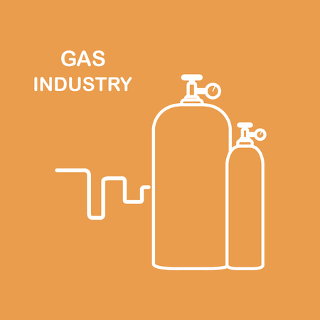 Gas cylinders, gas industry design for poster or print.