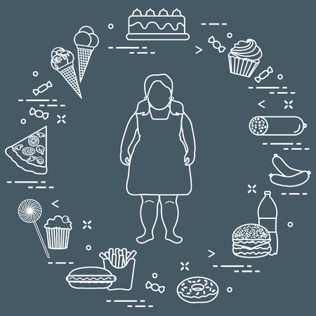 Fat girl with unhealthy lifestyle symbols around her concept vector illustration. Harmful eating habits. Design for banner and print.