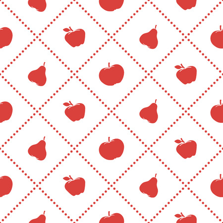 Apples and pears juicy fruit seamless pattern. Design for announcement, advertisement, banner or print. Illustration
