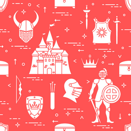 Knight, castle, shields, swords, cuirass, helmet, crown, treasure chest, bow, quiver of arrows seamless pattern. Design for banner or print. Illustration