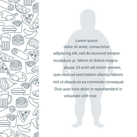 Fat man with unhealthy lifestyle symbols. Harmful eating habits design for banner and print. Illustration