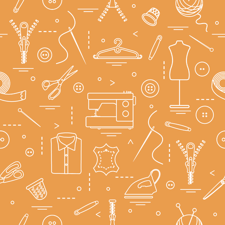 Tools and accessories for sewing seamless pattern. Template for design, fabric, print.