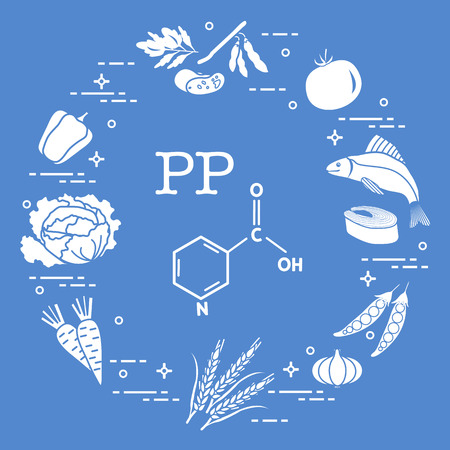 Foods rich in vitamin PP. Beans, fish, tomato, soya beans, peas, garlic, wheat, carrots, cabbage and pepper.