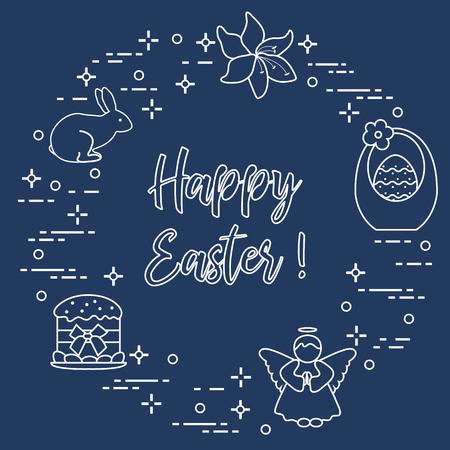 Easter symbols, Easter cake, basket, eggs, rabbit, flowers, angel.