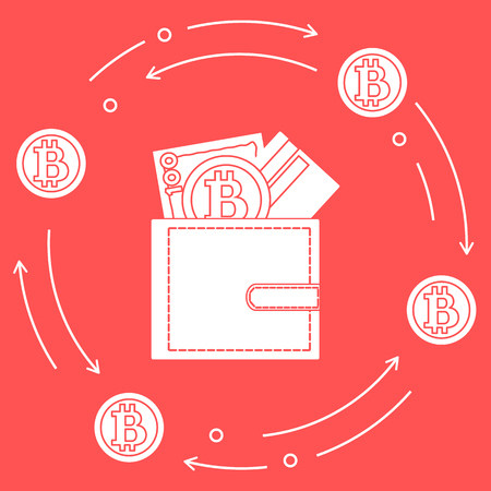 Purse with banknote, credit card and bitcoin. Design for announcement, advertisement, banner or print. Foto de archivo - 98691584
