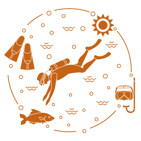 Mask, snorkel, flippers, sun, fish, scuba diver. Sports and recreation theme. Design for banner, poster or print.