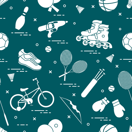 Pattern with bicycle, rollers, boxing gloves, water pistol and goods for bowling, table tennis, tennis, badminton, football, basketball, archery. Vector illustration. Stock Illustratie