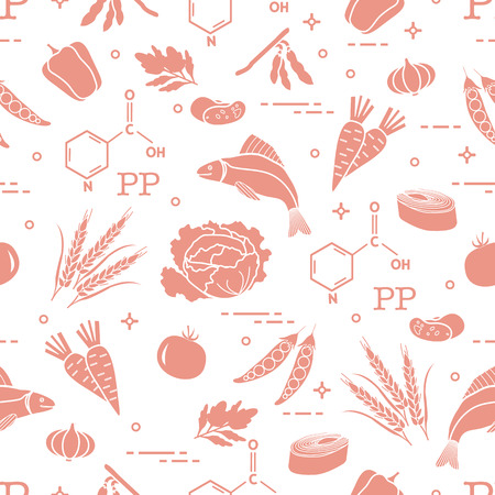 Seamless pattern with foods rich in vitamin PP. Beans, fish, tomato, soya beans, peas, garlic, wheat, carrots, spinach, cabbage, pepper. Ilustrace