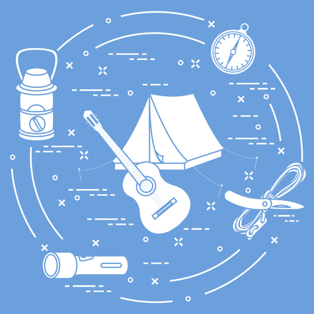 Tourism and outdoor recreation. Tourist tent, guitar, flashlight, rope, knife, compass, lamp.