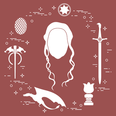 Symbols and heroes of the popular fantasy television series. Art and cinema theme. Stock Illustratie