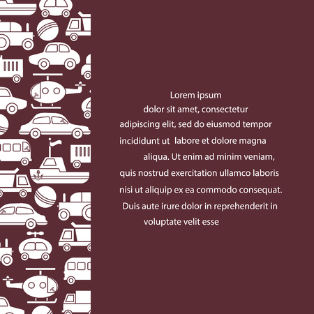 Children's toys: trucks, cars, bus, dump, ball, boat, helicopter. Design for poster or print. Foto de archivo - 98706973