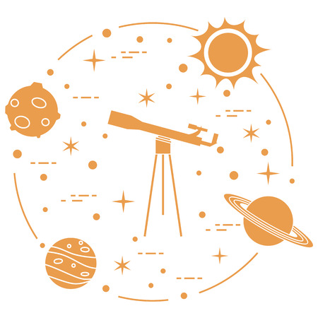 Science: telescope, sun, moon, planets, stars. Space exploration. Astronomy, design for banner and print.